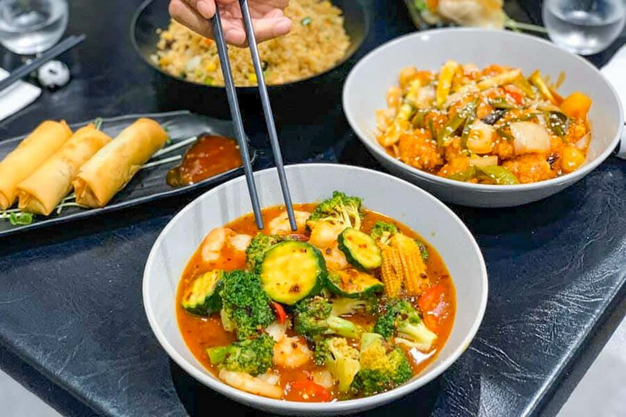 Selcetion of asian dishes, including curries and spring rolls made by Cool La La, Asian Cuisine, Airlie Beach, Whitsundays, Australia