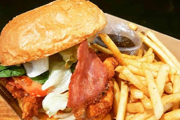chicken and bacon burger from Garuma Cafe, Airlie Beach, Whitsundays