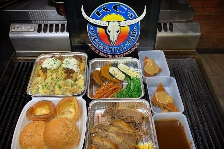 takeaway roast meal for a family made by KC's Bar & Grill, Main Street Airlie Beach, Whitsunday Region