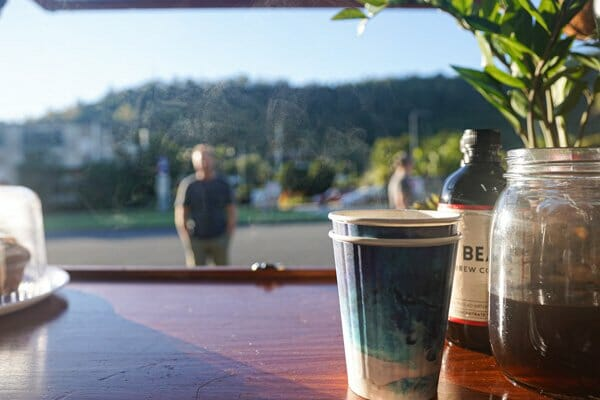 coffee in the sunrise,  Mr Bean coffee caravan, cannonvale, whitsunday region