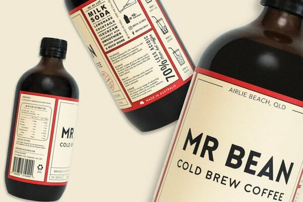 mr bean cold brew bottle product shot,  Mr Bean coffee caravan, cannonvale, whitsunday region