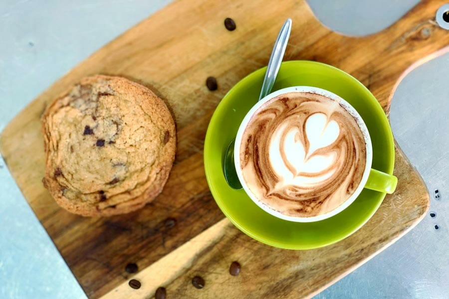 cappuccino and cookie served at Airlie Beach Treehouse, Whitsundays