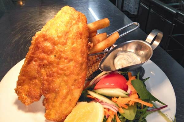 fish and chips with salad from Jubilee Tavern, jubilee pocket, Whitsundays
