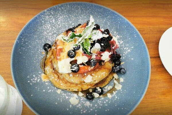 buttermilk pancakes at The Deck, Main Street Airlie Beach, Whitsunday Region, Queensland