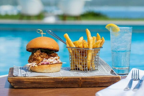 buttermilk fried chicken burger, The Rocks Bar & Restaurant, Coral Sea Resort, Airlie Beach, Whitsunday Region