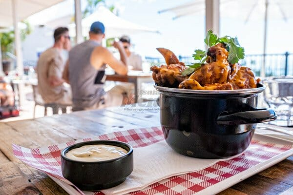 Chicken Wings and dipping sauce at the Anchor Bar Restaurant, Whitsundays