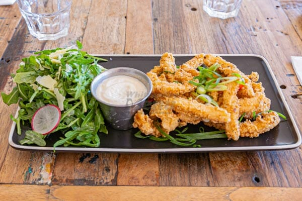 Salt & Pepper Calamari, aioli and side salad at Anchor Bar, Airlie Beach