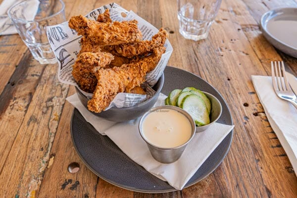 fried chicken, pickles, bacon and aioli dip at Anchor Bar, Airlie Beach