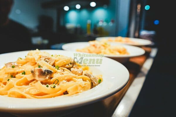 Fettucine Pasta Specials, Breeze Bar, Main street Airlie Beach,