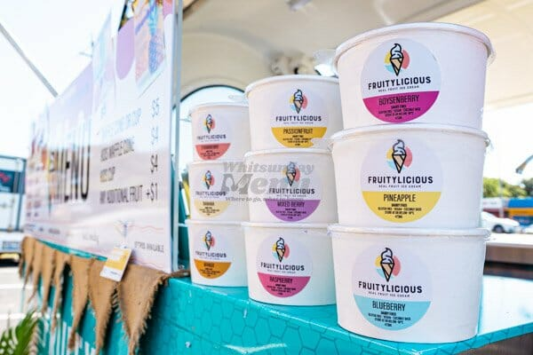 dairy free real fruit ice cream on the bench at Fruitylicious, Whitsundays, Queensland, Australia