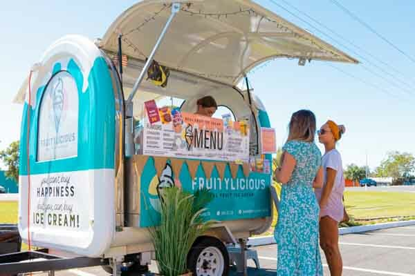 located at reef gateway carpark, outside Cellabrations,  Fruitylicious, Whitsundays, Queensland, Australia