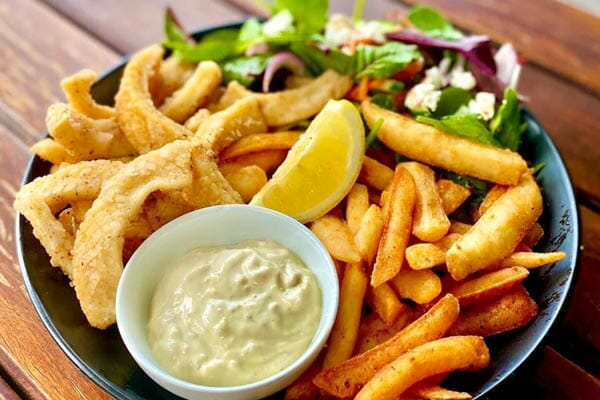 salt & pepper calamari and fries at The Hangar Cafe & Bar, Flametree, Whitsundays, Australia