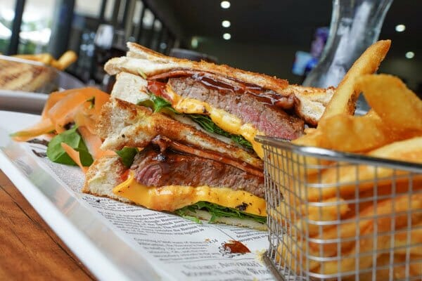 classic steak sandwich served with fries from Jubilee Tavern, jubilee pocket, Whitsundays