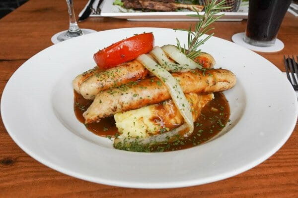 Bangers & Mash, served with sweet potato fries from Jubilee Tavern, jubilee pocket, Whitsundays