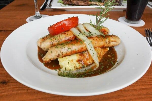 Bangers & Mash, served with sweet potato fries from Jubilee Tavern, jubilee pocket, Whitsundays