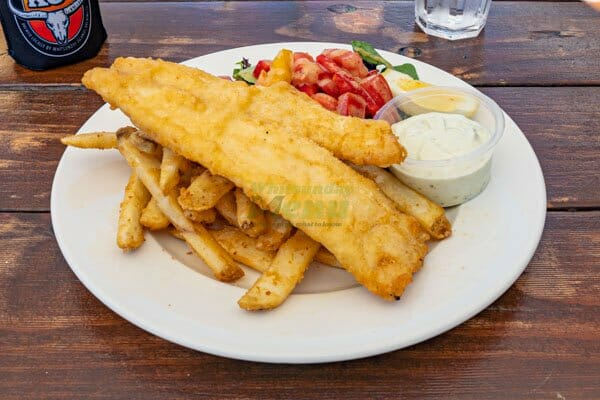 Fish & Chips served by KC's Bar & Grill, Main Street Airlie Beach, Whitsunday Region