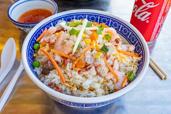 Combination fried rice in a bowl at Noodle and Rice Airlie Beach, Whitsunday Region, Australia