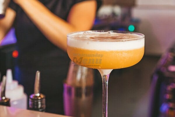 Amaretto Sour on the bar at Paradiso Rooftop Restaurant and Bar, Airlie Beach Main Street, Whitsundays