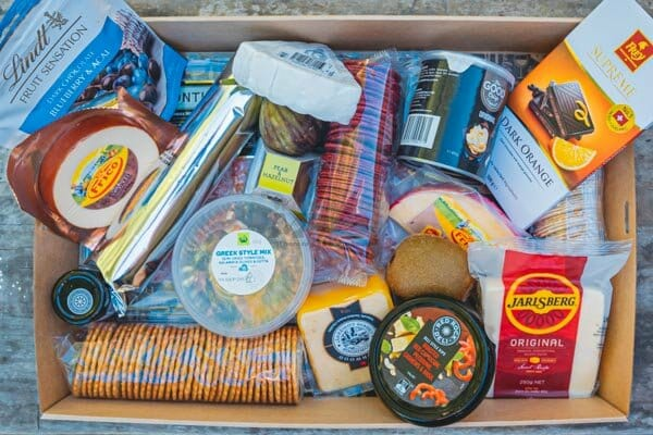 large gourmet hamper with cheeses, chocolates, dips, crackers, olives, cured meats, Peach and Pear, Airlie Beach, Whitsunday Islands, Queensland, Australia