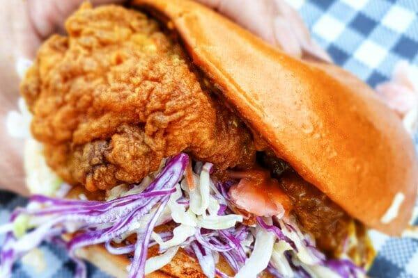Crispy Chicken katsu curry burger, by poco cucina  Airlie Beach, Whitsunday Region, Queensland