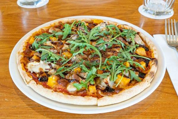 vegetarian pizzas at The Deck, Main Street Airlie Beach, Whitsunday Region, Queensland