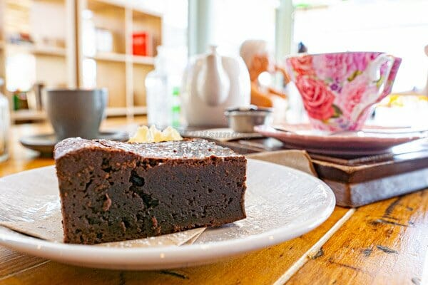 Chocolate brownie at Fat Frog Beach Cafe, Cannonvale, Whitsundays