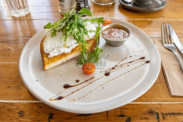 Poached Eggs on toasted ciabatta at Fat Frog Beach Cafe, Cannonvale, Whitsundays