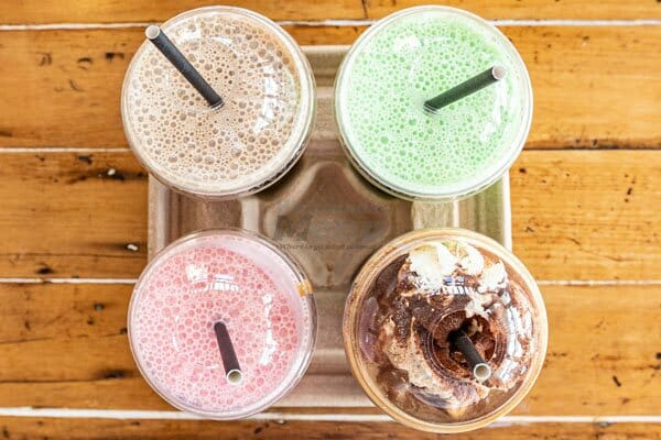 Strawberry, Lime, Chocolate & Cookies & Cream milkshake at Fat Frog Beach Cafe, Cannonvale, Whitsundays