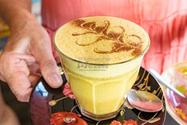 Turmeric Latte at Fat Frog Beach Cafe, Cannonvale, Whitsundays