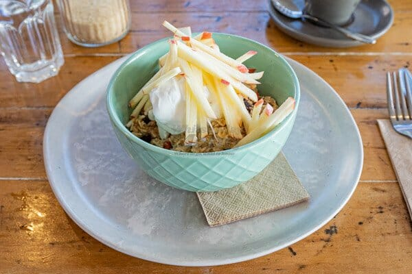 Housemade Bircher Muesli at Fat Frog Beach Cafe, Cannonvale, Whitsundays