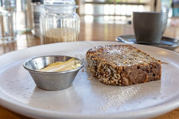 Banana Bread at Fat Frog Beach Cafe, Cannonvale, Whitsundays