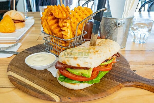 bacon and avocado panini with aioli and waffle fries at Airlie Beach Treehouse, Whitsundays