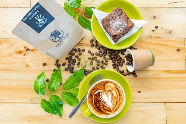 Cappuccino and chocolate brownie served at Airlie Beach Treehouse, Whitsundays