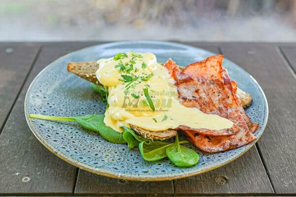 Eggs Benedict served at Airlie Beach Treehouse, Whitsundays