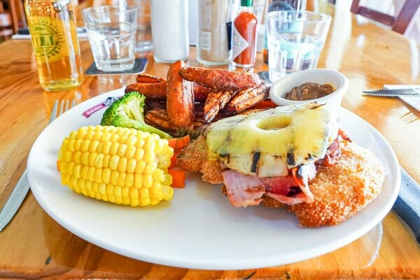 Troppo Chicken, with pineapple, vegetables and gravy Hogs Breath Cafe, Airlie Beach, Whitsundays, Australia