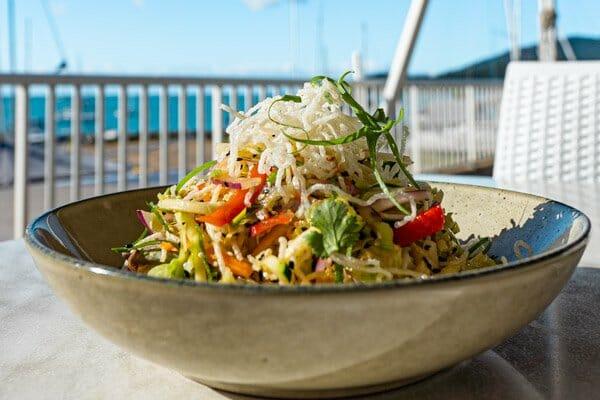 salad outside at 20 degrees south, whitsunday sailing club, airlie beach, whitsundays