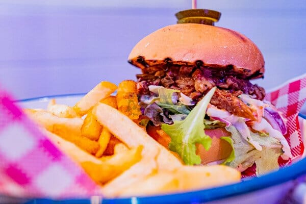 boaty's pulled pork burger with fries