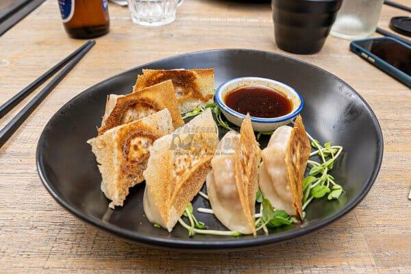 Pork Dumplings with soy sauce, made by Cool La La, Asian Cuisine, Airlie Beach, Whitsundays, Australia