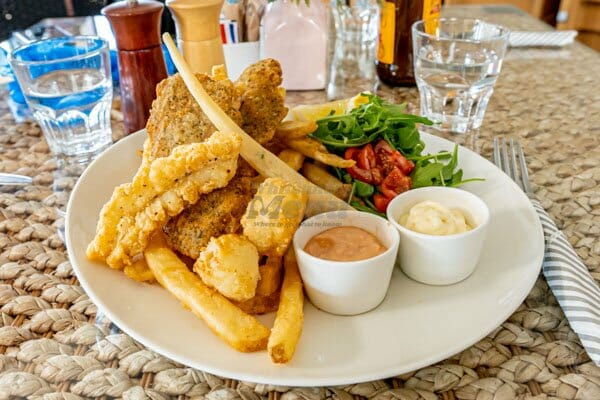 fisherman's catch meal with fries serves at My Rainbow Bakery & Cafe, Cannonvale, Whitsunday Regions