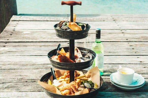 seafood tower, on table