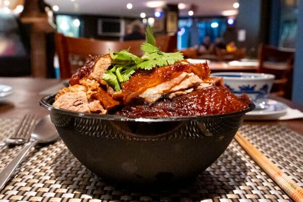 duck dish in a bowl at thai spicy