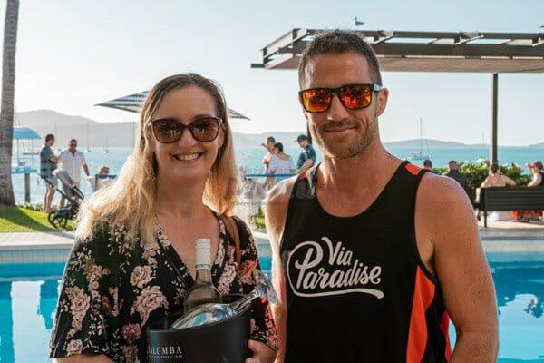couple posing at  coral sea resort, Via Paradise, Airlie Beach, Beach Bar Hopper Tour, Whitsundays, Queensland, Australia