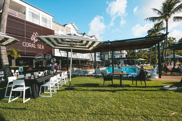 wide shot of coral sea resort, Via Paradise, Airlie Beach, Beach Bar Hopper Tour, Whitsundays, Queensland, Australia